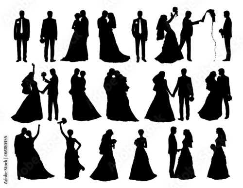 big set of bride and groom silhouettes - 66180355