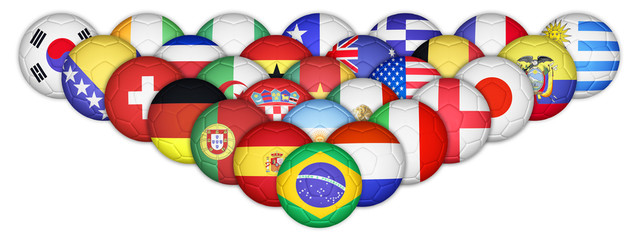 Set of soccer balls mapping with country flags