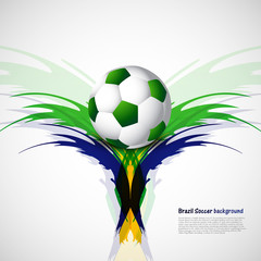 Soccer beautiful ball with brazil colors grunge background vecto