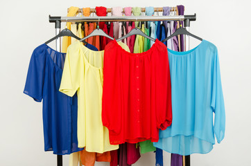 Cute red,yellow,blue blouses displayed on rack. Dressing closet.