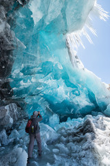 Glacier cave or ice cave on the way to Saribung Peak, Mustang