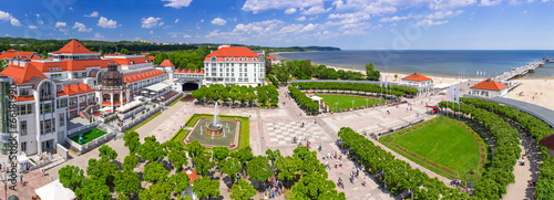 Panorama of Sopot with pier on Baltic Sea, Poland