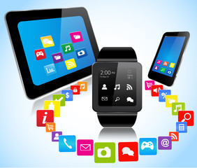 Smartwatch smartphone tablet and apps