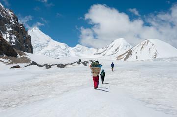 Trekking to Saribung Peak's high camp, Mustang, Nepal
