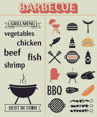 Barbecue grill elements.