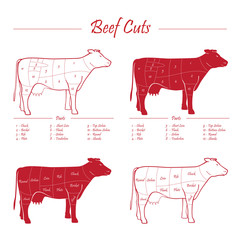 Cow beef meat cuts scheme red on white