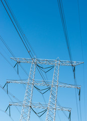 High voltage lines and a power pylon