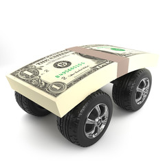 3d US Dollars on wheels