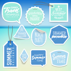 Summer holiday vacation stickers and labels