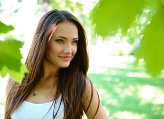 young beautiful lady outdoor portrait, girl with long brown hair