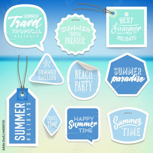 Naklejki wakacje wakacje i etykiety