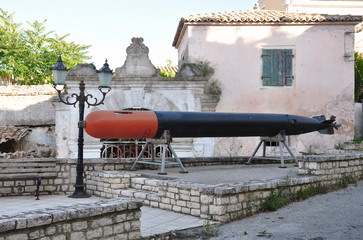 Weapon -  view of the old naval torpedo
