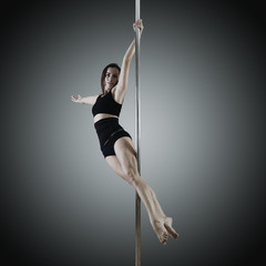 pole dancer, young woman dancing on pylon