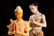 Thai model and wax statue