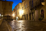Illuminated Street of Pienza after rain at Night, Italy - 66186521