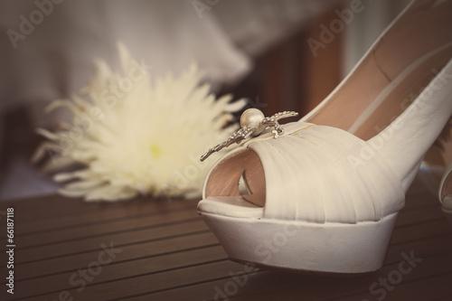 canvas print picture bridal shoes