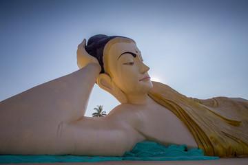 A huge reclining Buddha in Bago in Myanmar (Burma).