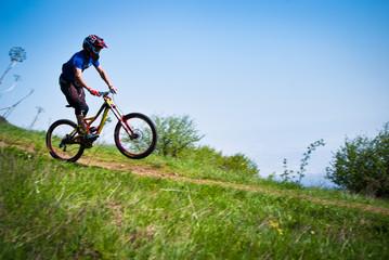 Dounhill cyclist in mountains