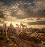 Famous Roman ruins in Rome, Capital city of Italy - 66188525
