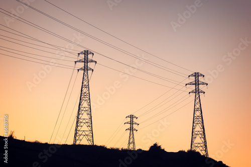 canvas print picture High voltage transmission towers
