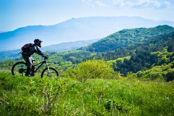 Dounhill rider in mountains