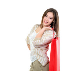 beautiful happy girl shopaholic with red shopping bags, over whi