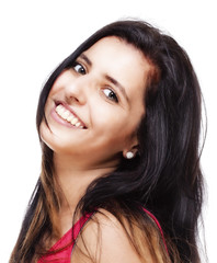 Young Woman with Long Black Hair Smiling