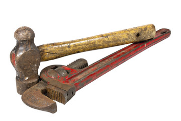 Well Used Monkey Wrench and Ball Peen Hammer