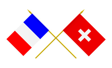 Flags, Switzerland and France