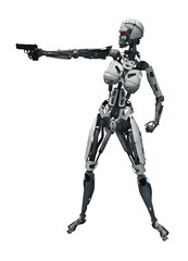 donna robot che spara con pistola