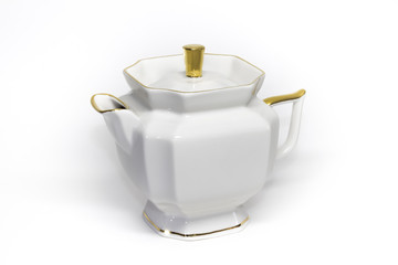 Porcelain teapot with a gold border