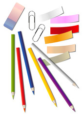 Set of office supplies