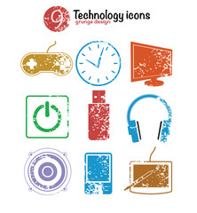 Technology icon set,colorful version,grunge vector