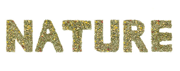 Word NATURE spelled out with  herbs and tea leaves