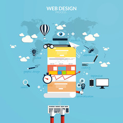 Flat design concept of responsive web design