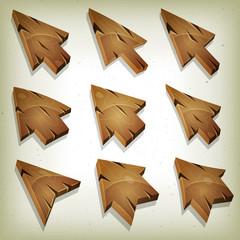 Cartoon Wood Icons, Cursor And Arrows