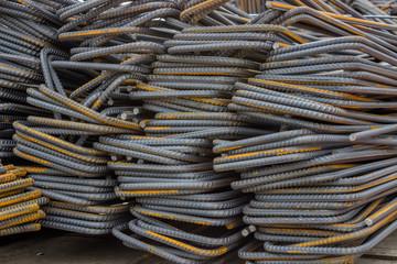 Stack of steel reinforcement bars background
