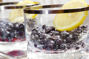 blueberry dessert with sugar and iced lemon
