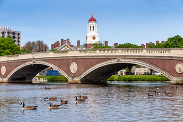 John W. Weeks Bridge and clock tower over Charles River in Harva
