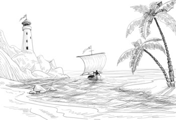 Seascape sketch, lighthouse, boat and palm trees