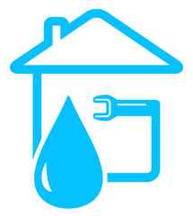plumbing icon with drop of water and spanner