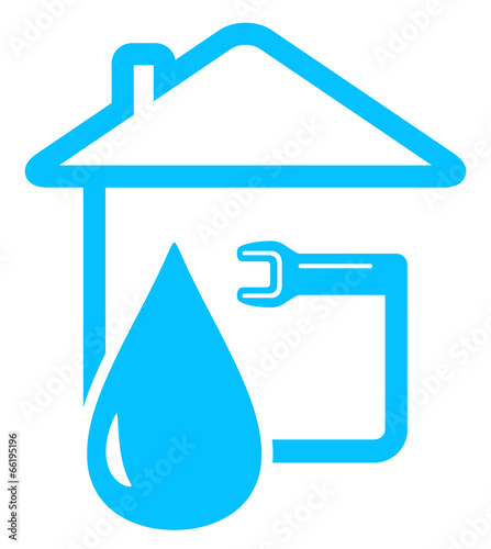 plumbing icon with drop of water and spanner - 66195196