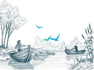 Fisherman in boat sketch, delta, river or sea background in vect