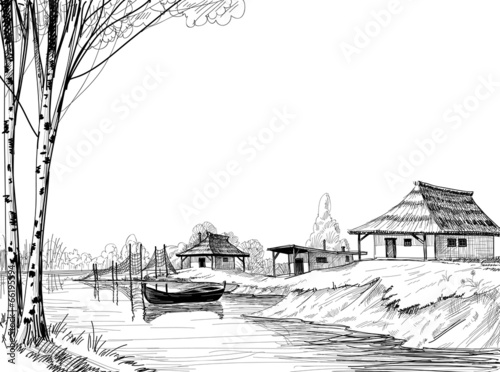 Fishing village sketch - 66195594