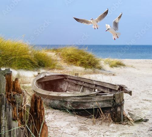 Fotobehang Strand altes Fischerboot, Möwen, Strand und Meer