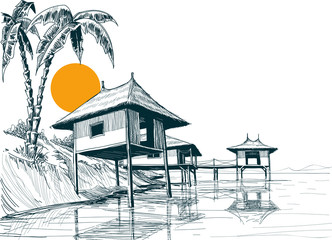 House built on water or water bungalows sketch