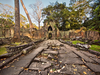 Preah Khan Temple Ruins at Angkor, Cambodia
