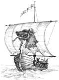Long boat drakkar sketch - 66196506
