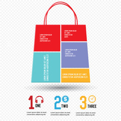 Shopping concept,Chart infographics,vector