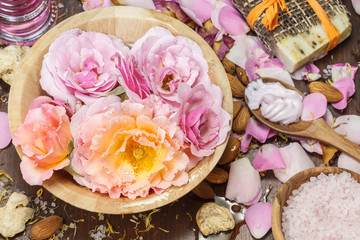 Skincare ingredients. Spa theme. Rose petal bath
